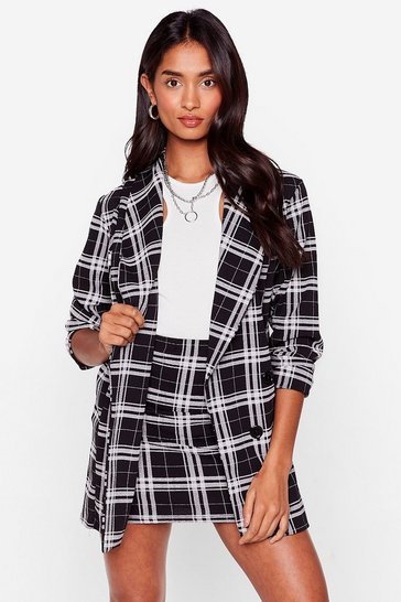 Black Workin' Overtime Relaxed Check Blazer