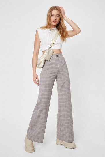 Baby pink Check Wide Leg Button Pants