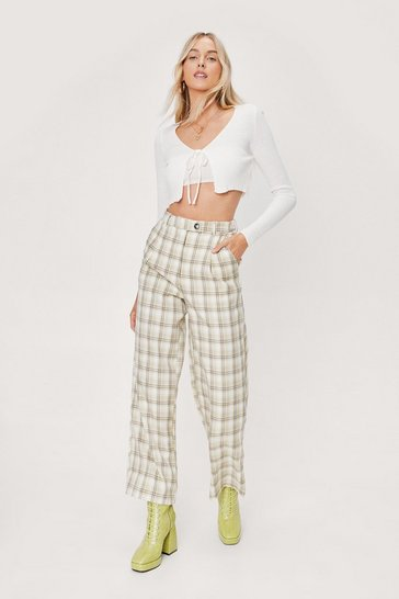 Olive Soft Check High Waisted Tapered Pants