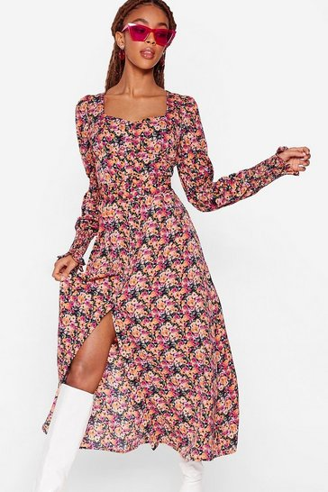 Damson Floral Square Neck Flowy Midi Dress