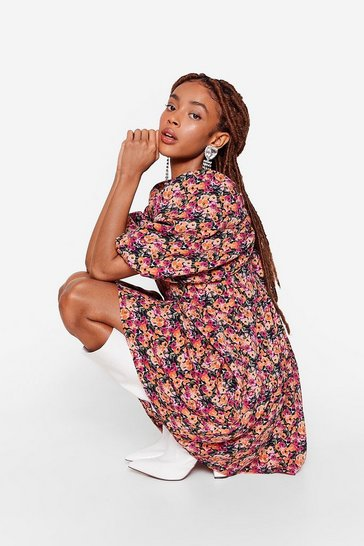 Damson Floral Puff Sleeve Mini Dress