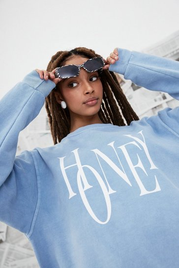 Washed blue Oh Honey Oversized Graphic Sweatshirt