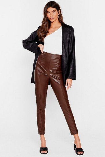 Now More Than Faux Leather High-Waisted Leggings, Choc brown