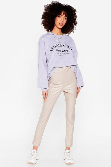Now More Than Faux Leather High-Waisted Leggings, Stone