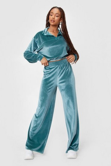 Sage Velour Quarter Zip Sweat And Wide Leg Jogger