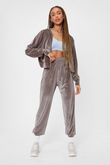 Grey Set 'Em Straight Velvet Hoodie and Joggers Set