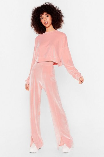 Light pink Let's Slit It Off Velour Top and Joggers Set