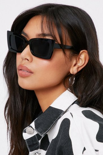 Black Watcha Doin' Tinted Cat-Eye Sunglasses