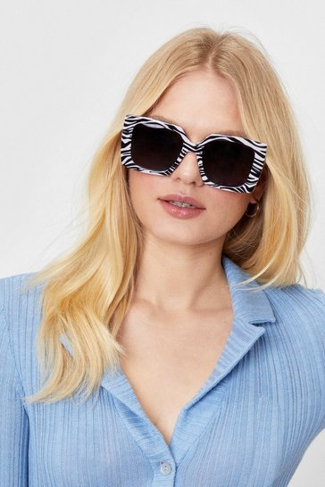 Black Wild Reputation Zebra Square Sunglasses