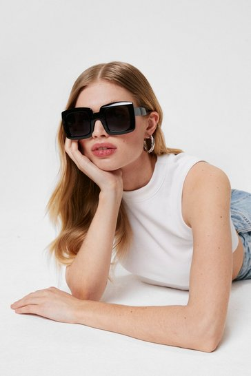 Black Oversized Square Frame Tinted Sunglasses