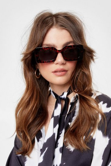Brown Tortoiseshell Tinted Rectangle Sunglasses