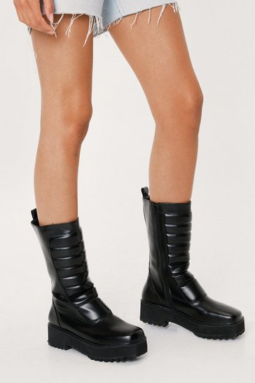 Black Faux Leather Padded Calf High Boots