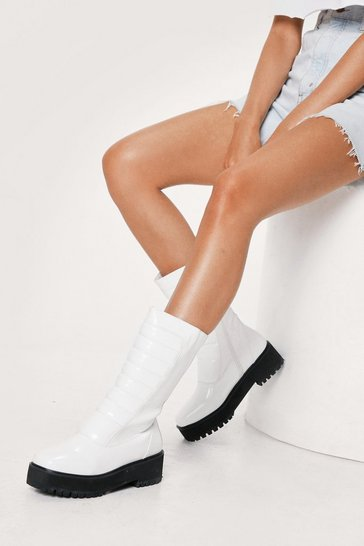 Optic white Faux Leather Padded Calf High Boots