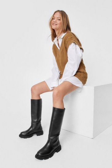 Khaki Faux Leather Knee High Wellie Boots