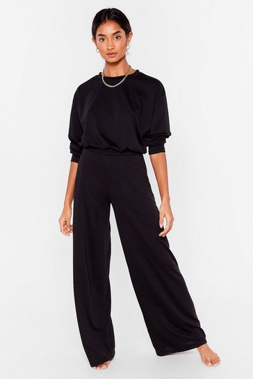 Ensemble confort sweat court & pantalon large Donne-moi gain de cosy, Black