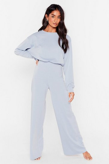 Light blue Give It a Rest Wide-Leg Pants Lounge Set
