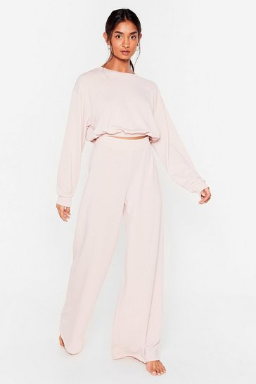 Mauve Give It a Rest Wide-Leg Pants Lounge Set