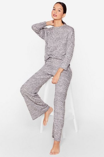 Charcoal Rib's Been a While Top and Wide-Leg Pants Set
