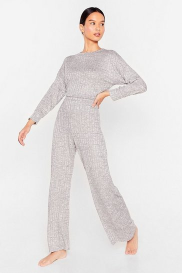 Grey marl Rib's Been a While Top and Wide-Leg Pants Set