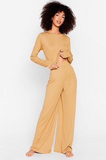 Earth We're On Crop of It Wide-Leg Pants Lounge Set