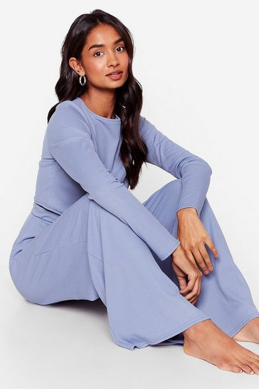 Light blue We're On Crop of It Wide-Leg Pants Lounge Set
