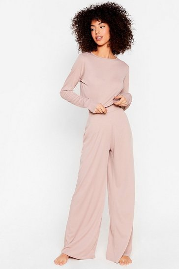 Mauve We're On Crop of It Wide-Leg Pants Lounge Set