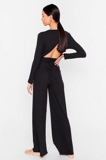 Black Give It a Tie Wide-Leg Trousers Lounge Set