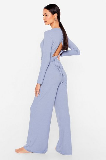 Light blue Give It a Tie Wide-Leg Pants Lounge Set