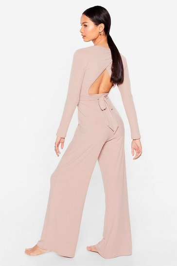 Mauve Give It a Tie Wide-Leg Pants Lounge Set