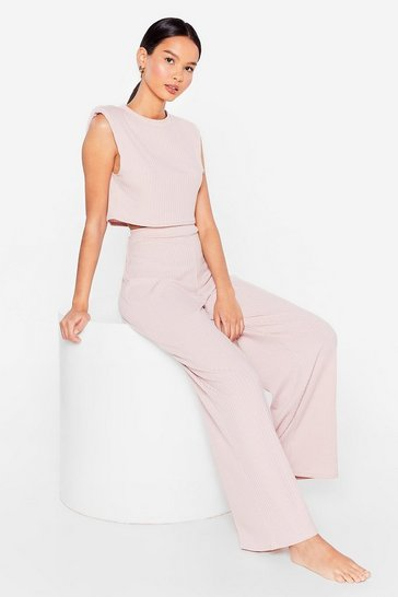 Mauve Ribbed Vest And Trousers Set
