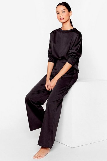 Black Comfy Crew Neck Top And Wide-Leg Trousers Set