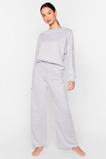Grey marl Never Crew Much Relaxed Top and Wide-Leg Pants Set