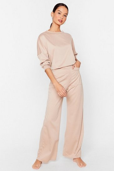 Stone Never Crew Much Relaxed Top and Wide-Leg Pants Set