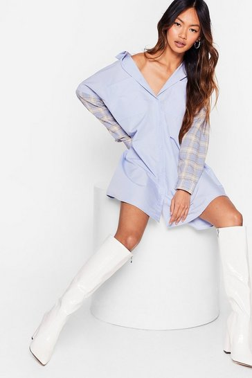 Baby blue Hold Back On the Mixer Check Shirt Dress