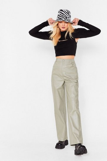 Grey-khaki We're Always On Your Wide Faux Leather Pants