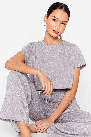 Grey marl Tee Be Continued Tee and Pants Pajama Set
