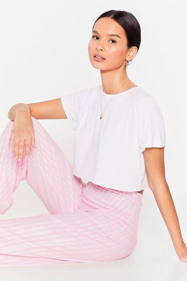 Pink We'll Be Stripe Back Tee and Pants Pajama Set