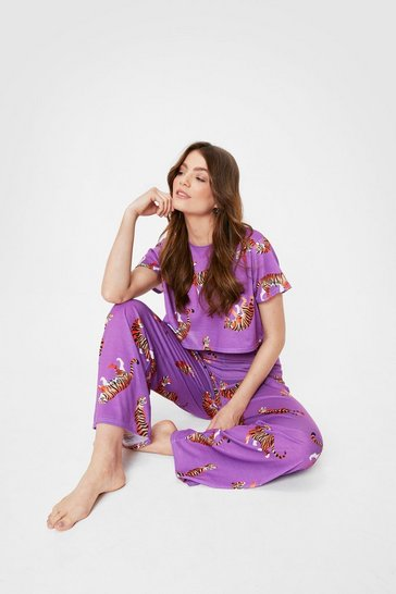 Purple Drive Me Wild Tiger Top and Pants Pajama Set