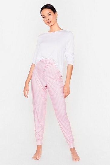 Pink Stripe Here Stripe Now Tee and Jogger Pajama Set