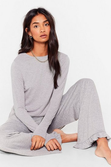 Grey marl Netflix is Callin' Wide-Leg Pants Lounge Set