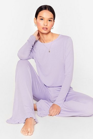 Lilac Netflix is Callin' Wide-Leg Pants Lounge Set