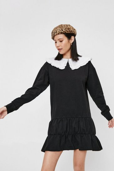 Black Oversized Collar Ruffle Sweatshirt Dress