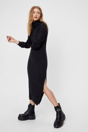 Black Let Knit Go Turtleneck Midi Dress