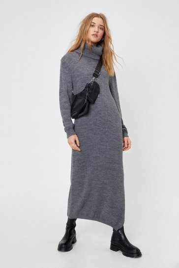Grey Let Knit Go Turtleneck Midi Dress