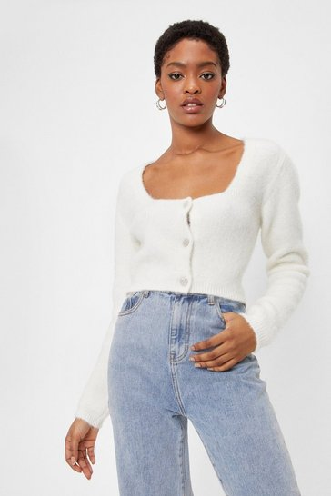 Cream Knitted Button Down Cropped Cardigan