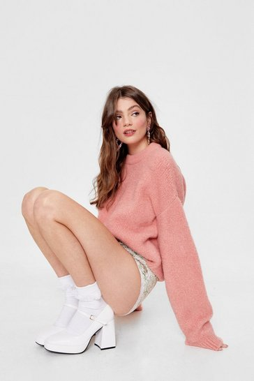 Peach Knitted Oversized Crew Neck Sweater