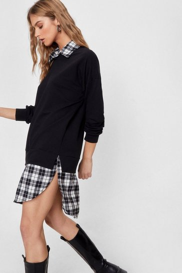Black A Two Layer Game Check Sweatshirt and Shirt Dress