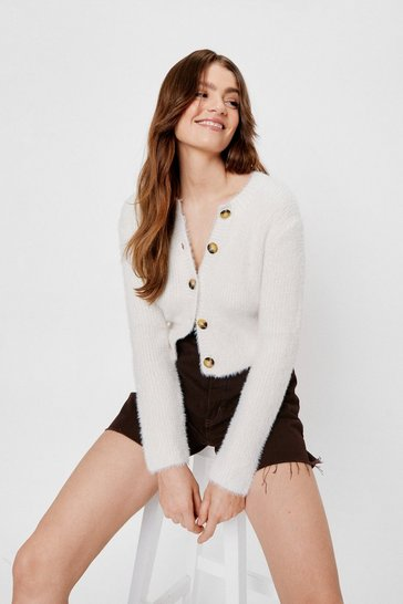 Cream Knitted Crew Neck Cropped Cardigan