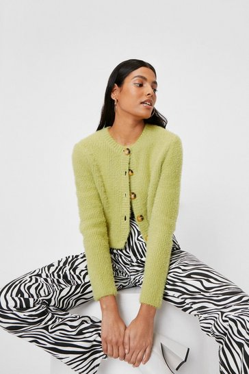 Lime Knitted Crew Neck Cropped Cardigan
