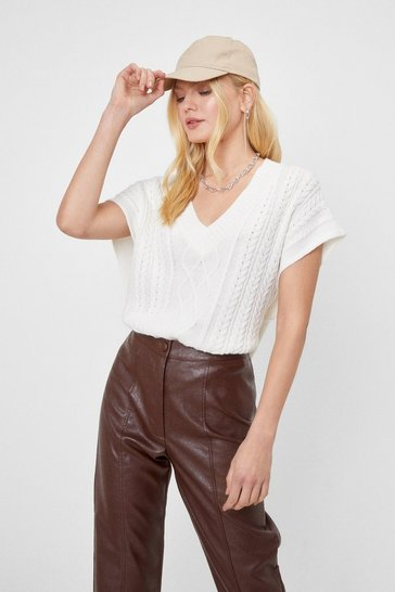 Cream Cable Knit Cropped V Neck Tank Top